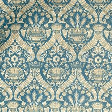 Turquoise Damask Decorator Fabric by Vervain