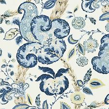 China Blue On Ivory Block Print Decorator Fabric by Scalamandre