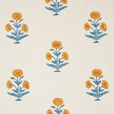 Mustard/Sky Decorator Fabric by Schumacher