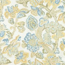Lemon/Blue Print Decorator Fabric by Lee Jofa
