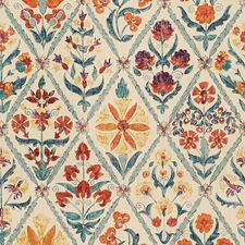 Orange/Blue Botanical Decorator Fabric by Lee Jofa