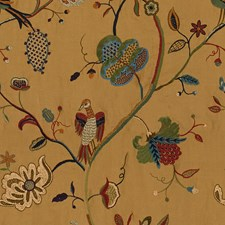 Mustard Embroidery Decorator Fabric by Lee Jofa