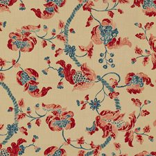 Red/Blue Jacobeans Decorator Fabric by Lee Jofa