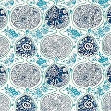 Cobalight/Turquoise Decorator Fabric by Schumacher