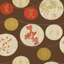 Brown/Orange/Green Asian Decorator Fabric by Kravet