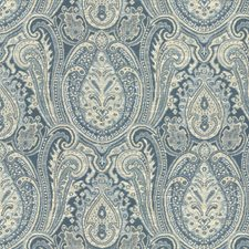 White/Light Blue/Blue Ethnic Decorator Fabric by Kravet