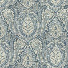 White/Light Blue/Blue Ethnic Decorator Fabric by Kravet