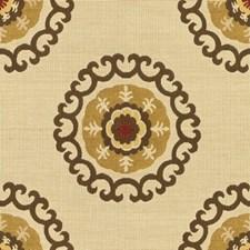 Beige/Brown/Yellow Ethnic Decorator Fabric by Kravet