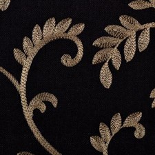 Black/Camel Embroidery Decorator Fabric by Duralee