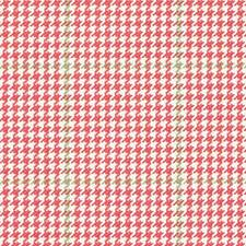 Rose/Green Houndstooth Decorator Fabric by Duralee