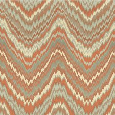 Ivory/Light Blue/Orange Flamestitch Decorator Fabric by Kravet