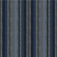 Blue/Indigo/Grey Herringbone Decorator Fabric by Kravet