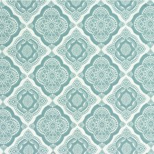 White/Turquoise Medallion Decorator Fabric by Kravet