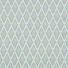 Blue/White/Yellow Diamond Decorator Fabric by Kravet