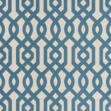 Blue/Ivory/Beige Lattice Decorator Fabric by Kravet