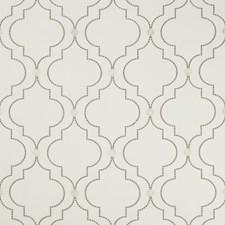 White/Grey/Metallic Lattice Decorator Fabric by Kravet