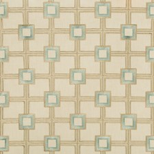 Beige/Turquoise/Gold Geometric Decorator Fabric by Kravet