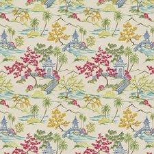 Blue Garden Embroidery Decorator Fabric by Stroheim