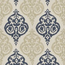 Navy Tan Damask Decorator Fabric by Trend
