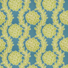 Turquoise Lime Floral Decorator Fabric by Stroheim