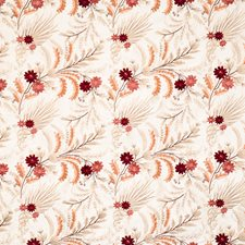 Crimson Coral Embroidery Decorator Fabric by Vervain