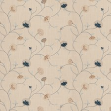 French Blue Embroidery Decorator Fabric by Fabricut