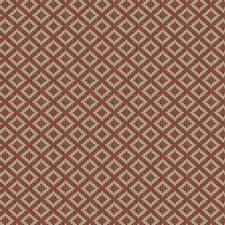Red Geometric Decorator Fabric by Stroheim