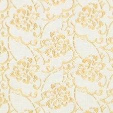 Yellow Embroidery Decorator Fabric by Duralee