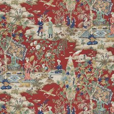 Red Print Decorator Fabric by Brunschwig & Fils