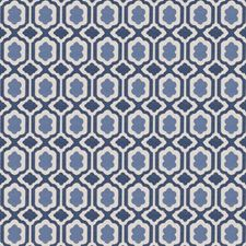Blue Small Scale Woven Decorator Fabric by Stroheim