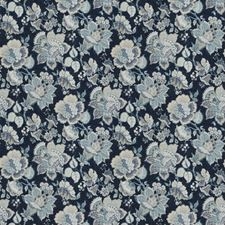Indigo Floral Decorator Fabric by Trend
