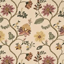 Ivory/Multi Embroidery Decorator Fabric by G P & J Baker