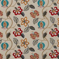 Red/Sienna/Teal Embroidery Decorator Fabric by G P & J Baker