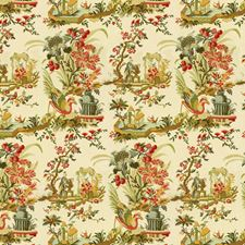 Teal and Melon On Cream Asian Decorator Fabric by Brunschwig & Fils