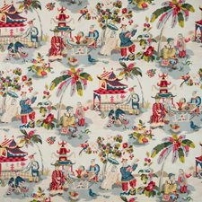 Prussian/Red Asian Decorator Fabric by Brunschwig & Fils