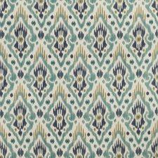 White/Teal/Indigo Ethnic Decorator Fabric by Kravet