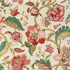 Beige/Pink/Green Botanical Decorator Fabric by Kravet
