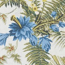 Red/Blue Leaf Decorator Fabric by Duralee