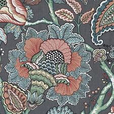 Charcoal Floral Vine Decorator Fabric by Duralee