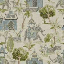 Ivory/Light Blue/Green Animal Decorator Fabric by Kravet