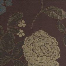 Chocolate/Peaco Floral - Large Decorator Fabric by Clarke & Clarke