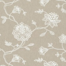 Natural Embroidery Decorator Fabric by Clarke & Clarke