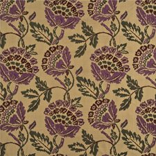 Damson/Red Embroidery Decorator Fabric by Mulberry Home