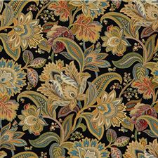 Black/Gold/Green Botanical Decorator Fabric by Kravet