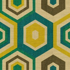 Teal Geometric Decorator Fabric by Groundworks