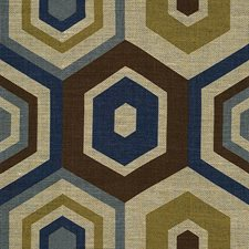 Blue Geometric Decorator Fabric by Groundworks