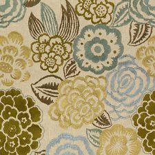 Aqua/Celery Embroidery Decorator Fabric by Groundworks