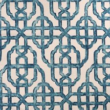 Blue/Offwhite/Turquoise Traditional Decorator Fabric by JF