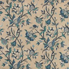 Neutral/Blue/Grey Botanical Decorator Fabric by Kravet