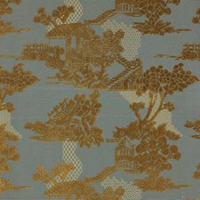 Teal/Gold Asian Decorator Fabric by Kravet